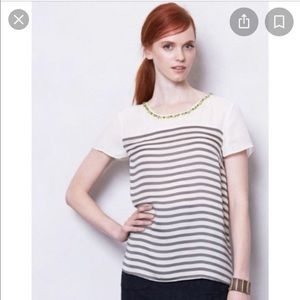 Anthropologie grey and white stripe blouse